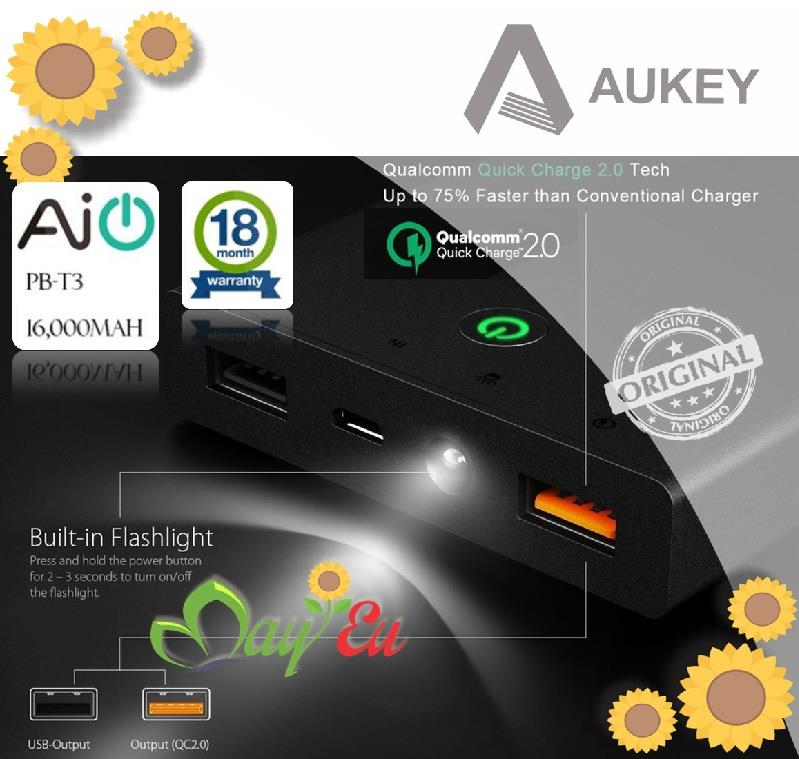 ❁ AUKEY Quick Charge 2.0 16000mAh Portable Power Bank