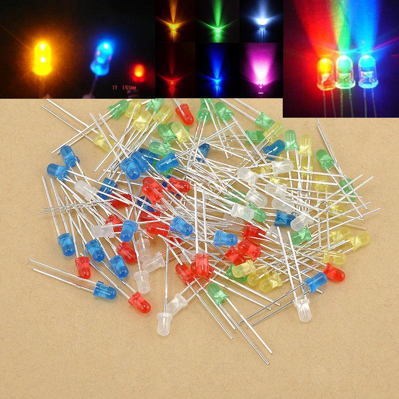 100Pcs 3mm LED Light Bulb Emitting Diode Bulbs Lamps Mixed Colorful Li