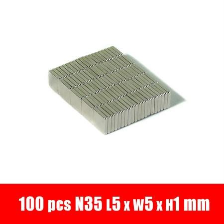 100pcs 5mm x 5mm x 1mm Blocks Rare Earth Neodymium super strong Magnet