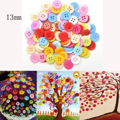 100Pcs Candy Color Round Resin Buttons for Sewing Children Crafts-13mm