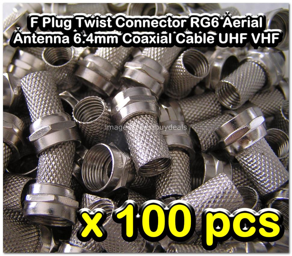 100x F-Type F Twist-On Coaxial RG6 Cable Connector Plug Aerial Freeset
