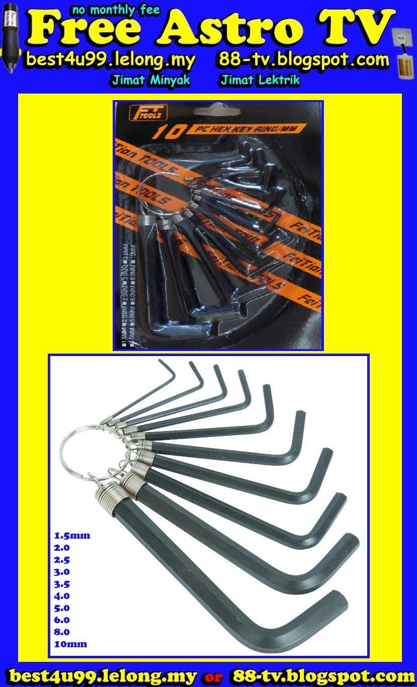 10pc Metric Allen Key Hex Key Wrench Set with Ring (end 8/18/2016 1:15