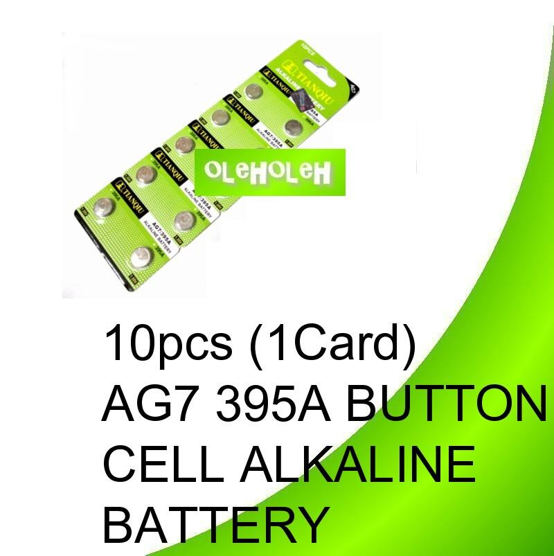 10pcs (1Card) AG7 395A Button cell Alkaline Battery
