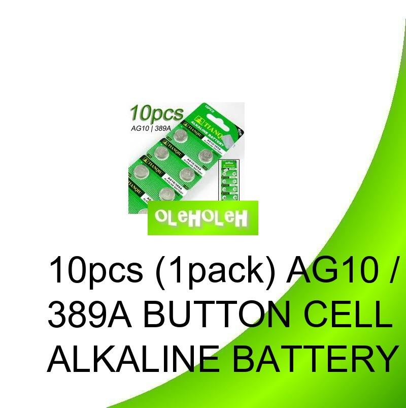 10pcs (1pack) AG10 / 389A Button cell Alkaline Battery