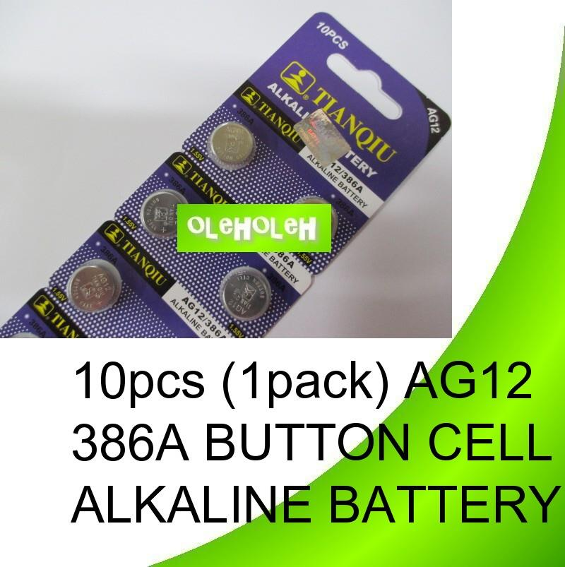 10pcs (1pack) AG12 386A Button cell Alkaline Battery
