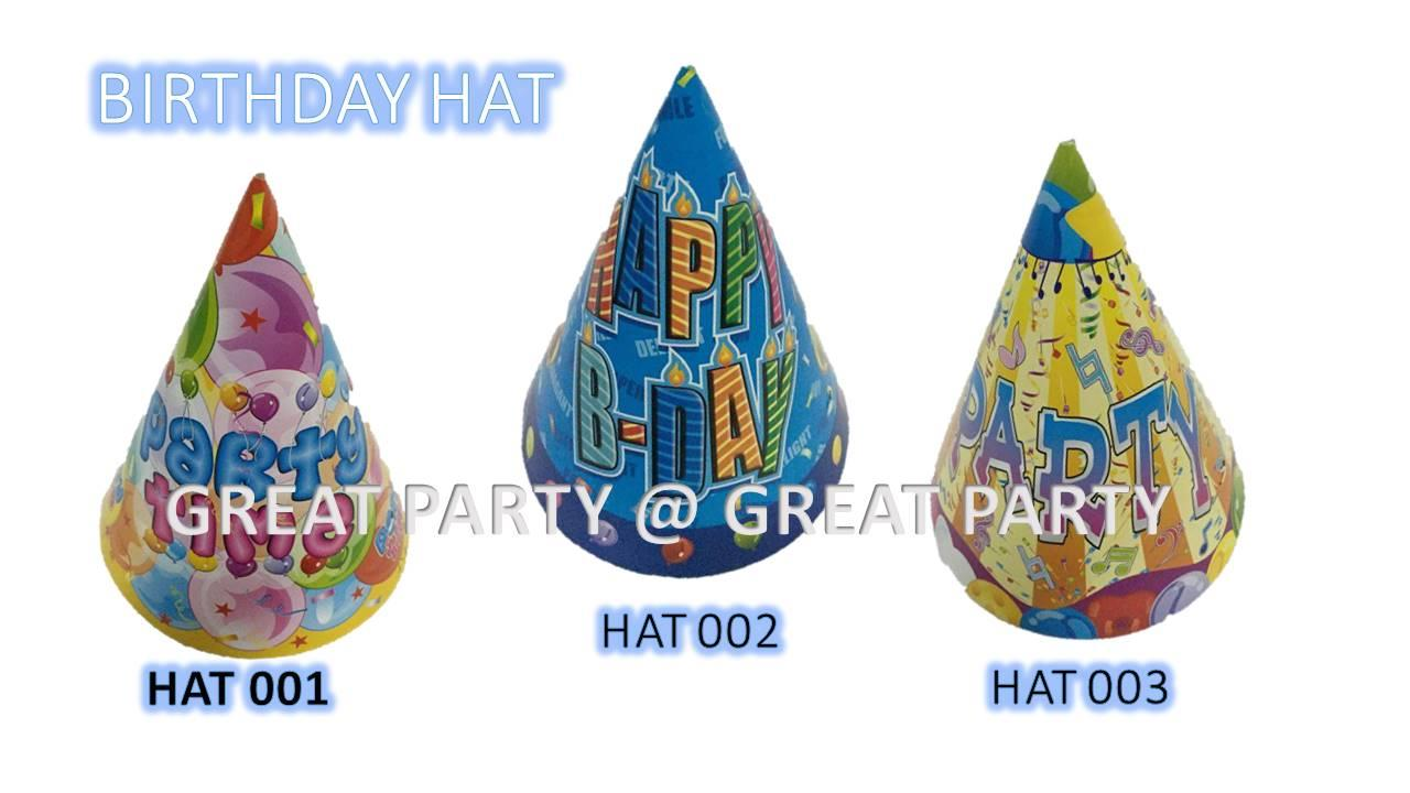 (10pcs) Children Birthday Party Cartoon Hat With Balloon Decoration