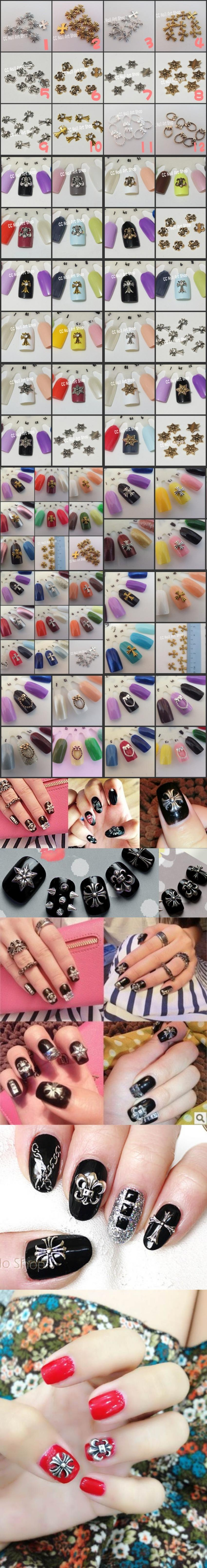10pcs Quality Nail Art Chrome Heart (can mix) Decoration Value Set New