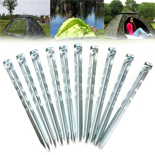 10Pcs V-shaped Wave Shape Camping Tent Canopy Iron Pegs Hooks Stakes Z