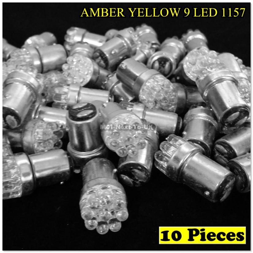 10x AMBER YELLOW 9 LED 1157 Bulb G18.5 G18 BAY15D Dual Contact BASE Au