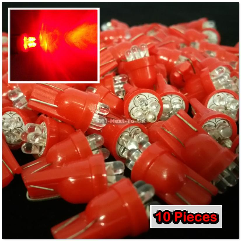 10x RED T10 4 LED ROUND HEAD Standard Bulbs Wedge Lamp Light W5W 501 1