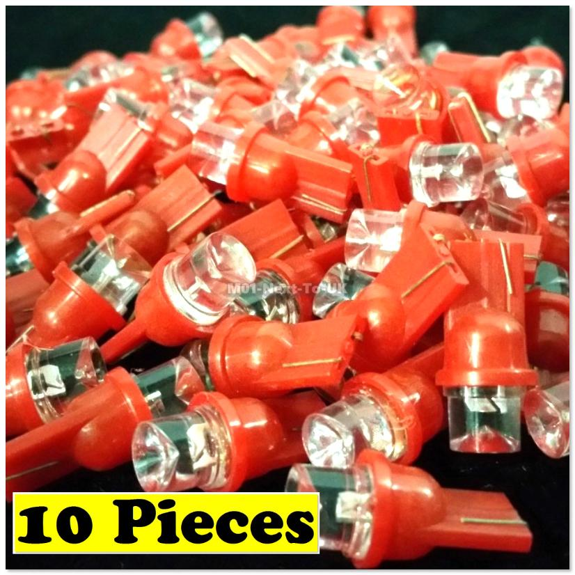 10x RED T10 LED Light Bulb 501 W5W Wedge Lamp Concave Top Inverted Pow