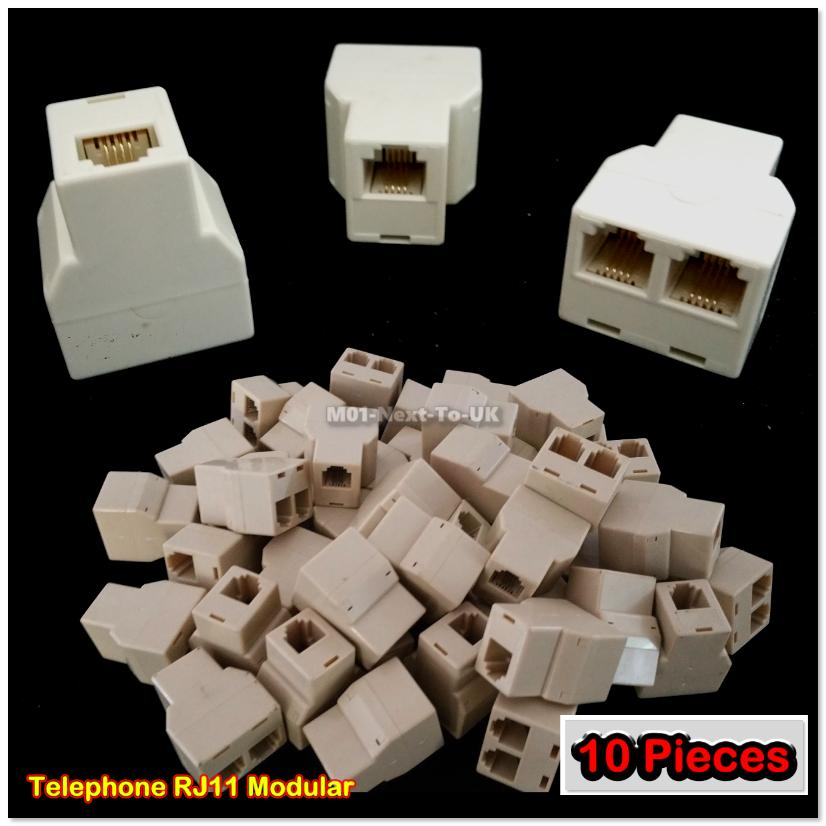 10x RJ11 4-pin Telephone Coupler Splitter Adapter Modular Converter Co
