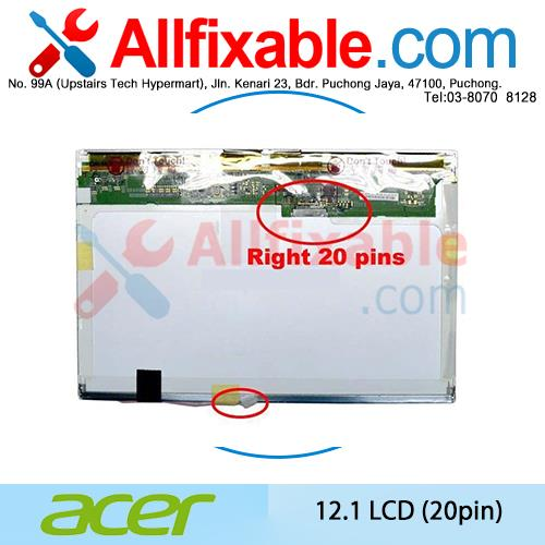 12.1' LCD 20pin Compatible For Acer Aspire 2920  2930