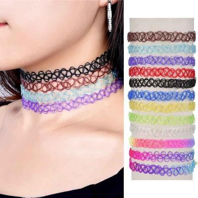 12 Pieces Tattoo Choker Necklace Stretch Gothic Tattoo Set