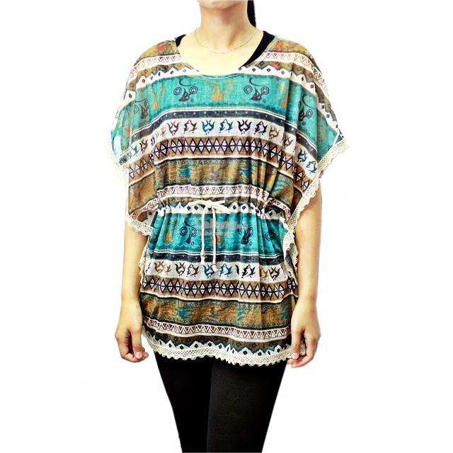 12505 Dolman Sleeve Blouse with Tribal-Print