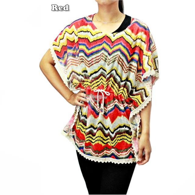 12545 Sleeveless Caftan Blouse with Chevron Pattern Print