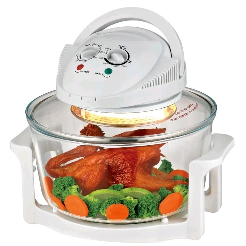 12L Halogen Tempered Glass Tabletop Convection Oven (White)