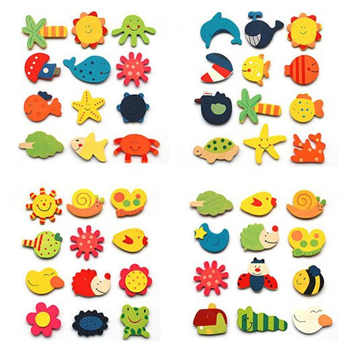 12Pcs Wooden Kitchen Fridge Magnet Kids Cartoon Educational Toy