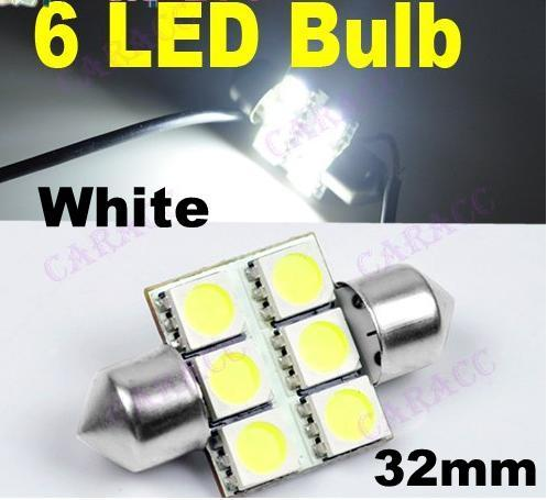 12v 32mm 6led 5050 smd car dome super bright led light bulb white. Black Bedroom Furniture Sets. Home Design Ideas