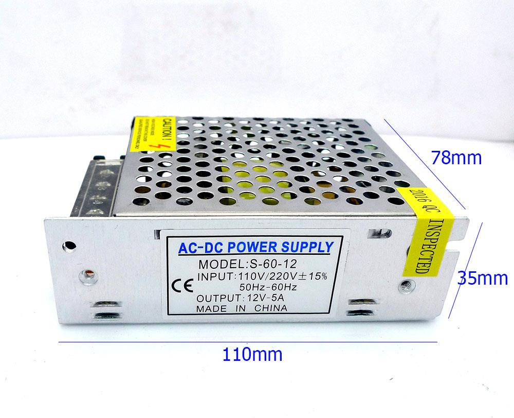 12V 5A Switching Power Supply Metal Casing LED CCTV Adapter Transforme