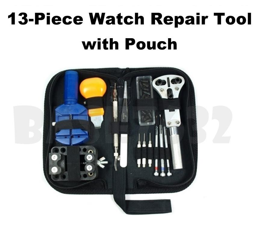 13 Pieces Watch Repair Tool Kit Band Open Back Case Opener w/ Pouch