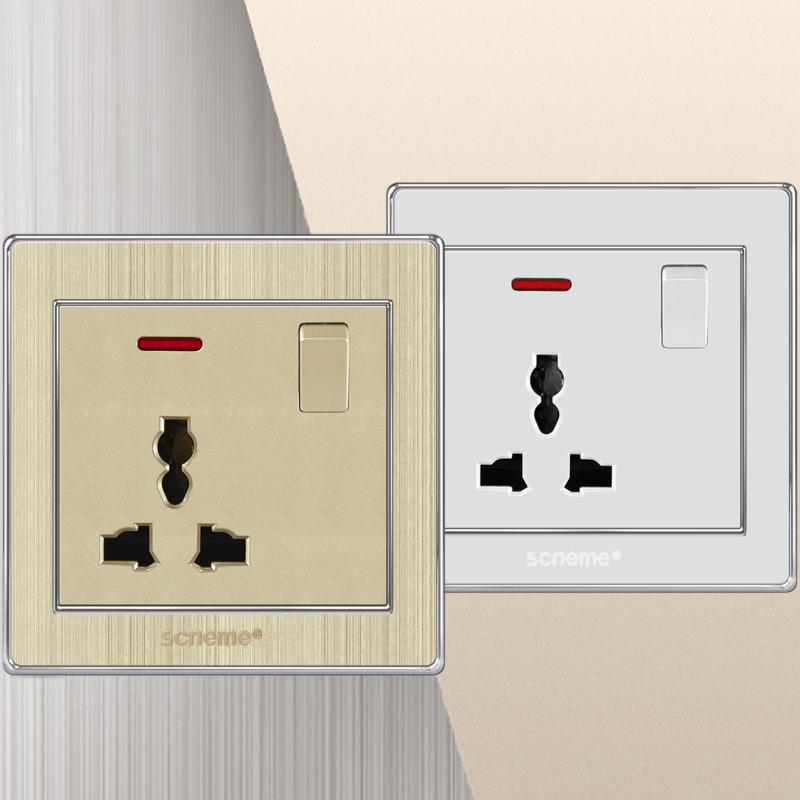 13A 3 Pin Switched Socket with Red LED, White/Champagne color