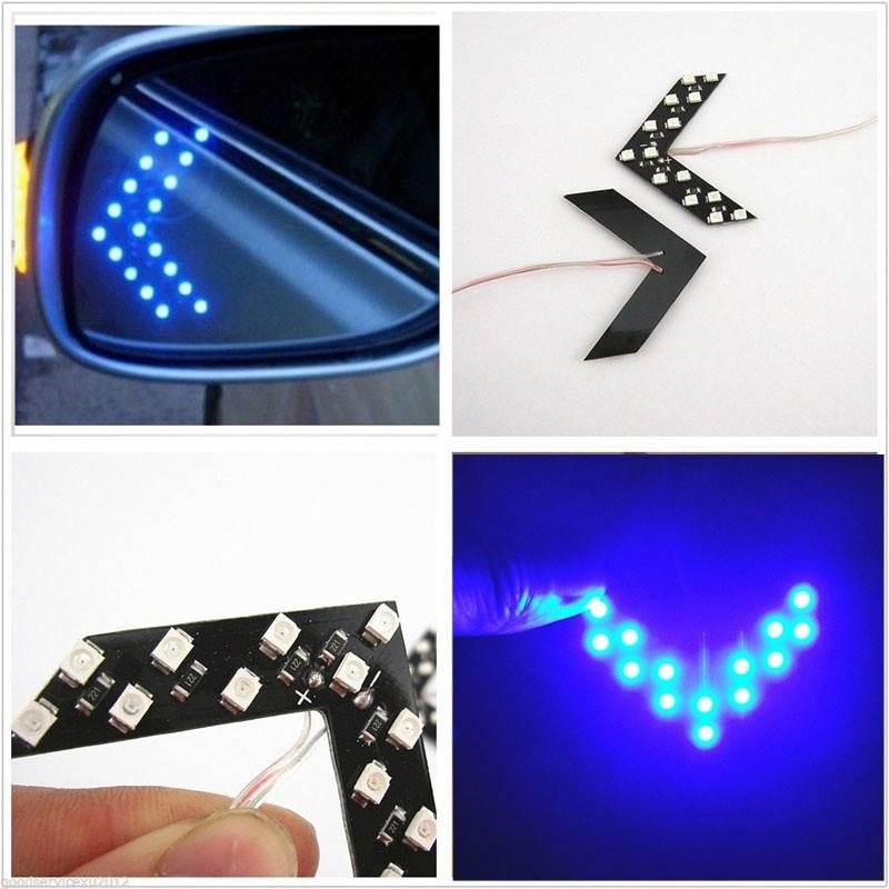 14 SMD LED Arrow Panel Rear View Mirror Turn Signal (BLUE)