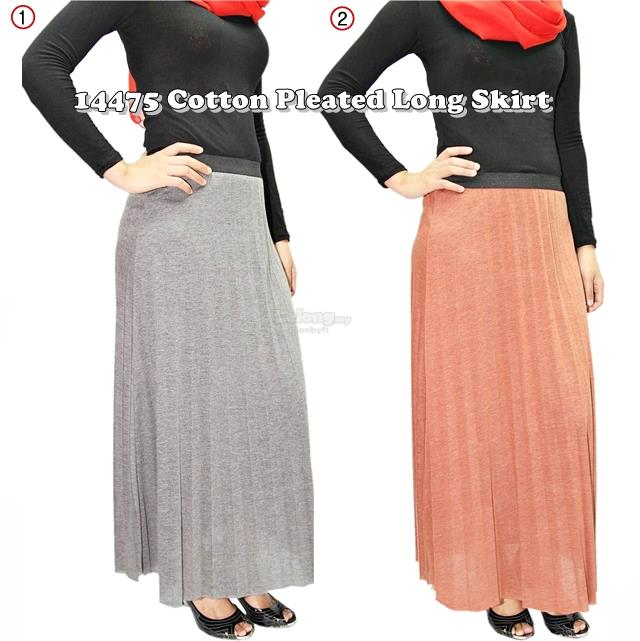 14475 Cotton Pleated Long Skirt