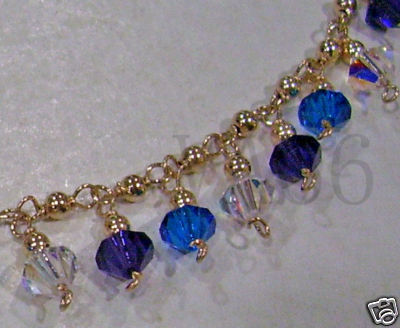 14K Gold Fill Swarovski 6mm Bicones Charm Bracelet Suasa Colour Choice