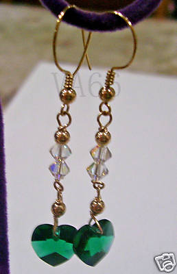14K Gold Filled Swarovski Heart Earrings 23 Col Choices