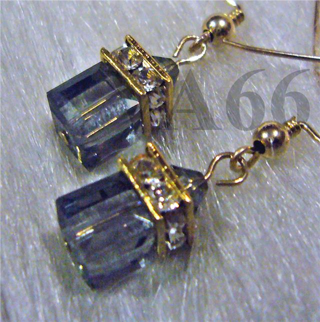 14K Gold Swarovski Crystal Cube Earrings Colors Diamond Rhinestone