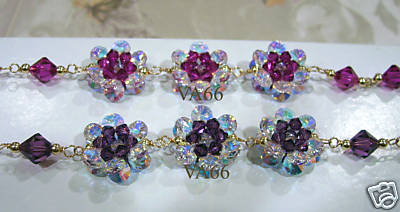 14K Gold Swarovski Crystal Flower Motif Bracelet 24 Colour Choices