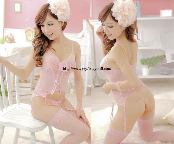 1523 Sexy Sleep Lingerie Underwear Pyjamas Nightwear Skirt+T
