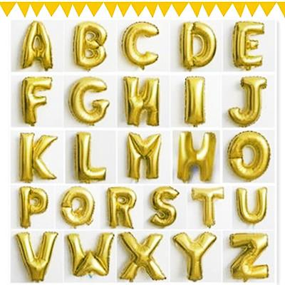 16' GOLD ALPHABET SELF ADHESIVE LETTER FOIL BALLOON