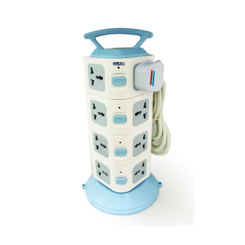 16 Switch Plugs Portable Socket Tower with USB Port