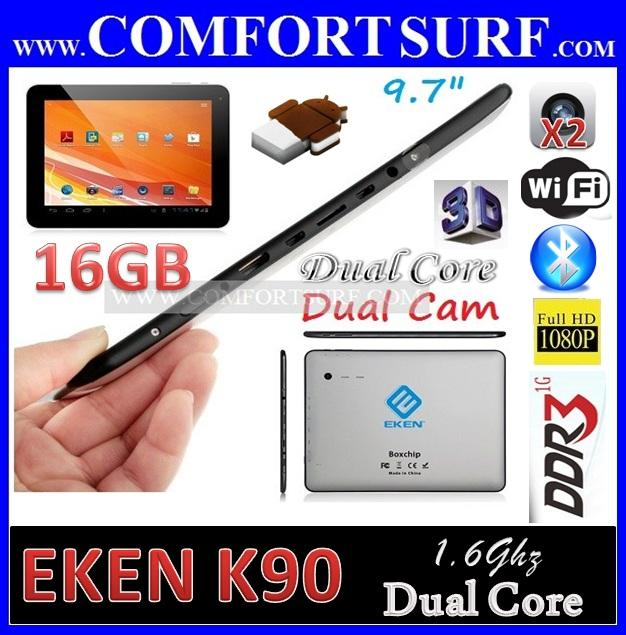 16GB EKEN K90 RK3066 1.6GHz Android 4.1 QuadCore GPU Tablet PC Sanei N10 A90