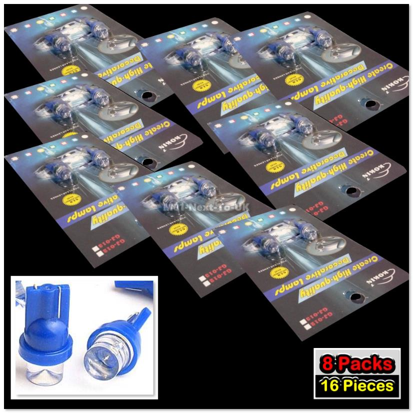 16x BLUE T10 LED Light Bulb 501 W5W Wedge Lamp Concave Top Inverted