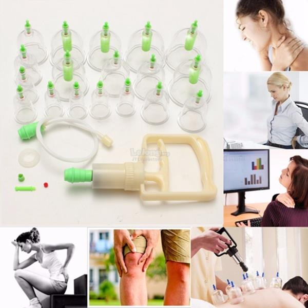 18 Cups Vacuum Suction Chinese Cupping Therapy Pain Fatigue Relief Mas
