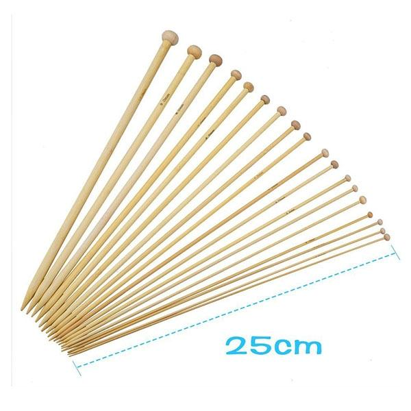 18 Sizes 10 Inch (25 cm) Single Pointed Bamboo Knitting Needles Set