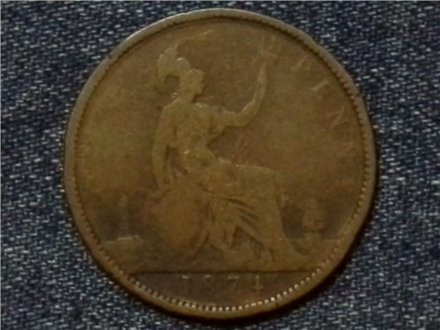 1874 REAT BRITAIN QUEEN VICTORIA ONE PEENY COIN