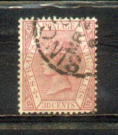 1883 Malaya Straits Settlements QV Watermarks Crown CA. 30c