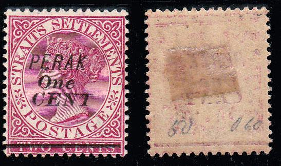 1891, Perak 1c Overprint on 2 Cents Queen Victoria Stamp MINT