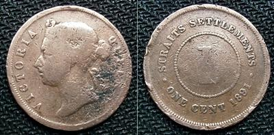 1891 - Straits Settlements Victoria 1 Cent Copper Coin  #01