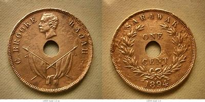 1894 SARAWAK C BROOKE ONE CENT COPPER COIN #13