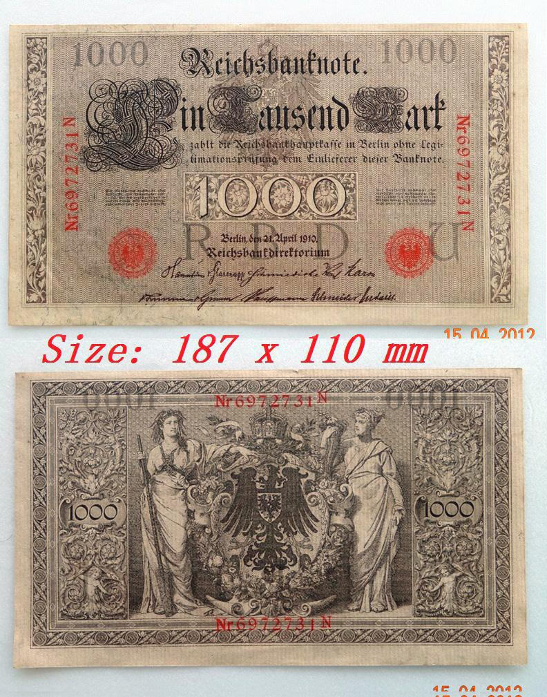 1910, Imperial Germany 1000 Mark Reichsbanknote . UNC