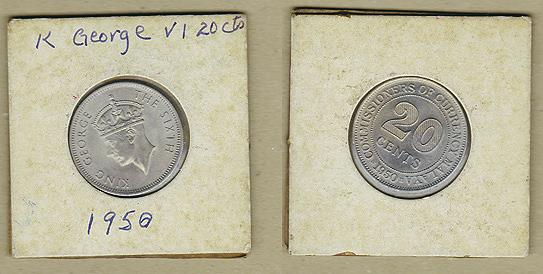 1950, WW2 Malaya King George VI, 20 cents silver Coin . BU