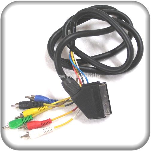 [1954] High Quality SCART To 6 X RCA Phono Plugs A/V Lead In Out Cable