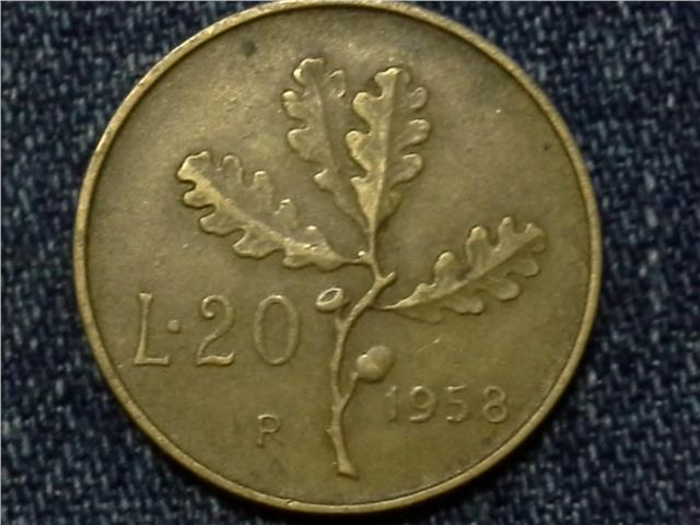 1958 ITALY 20 LORE COIN