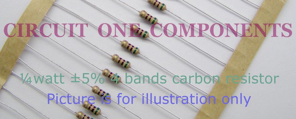 1R 5% 0.25 watt Carbon resistor - each