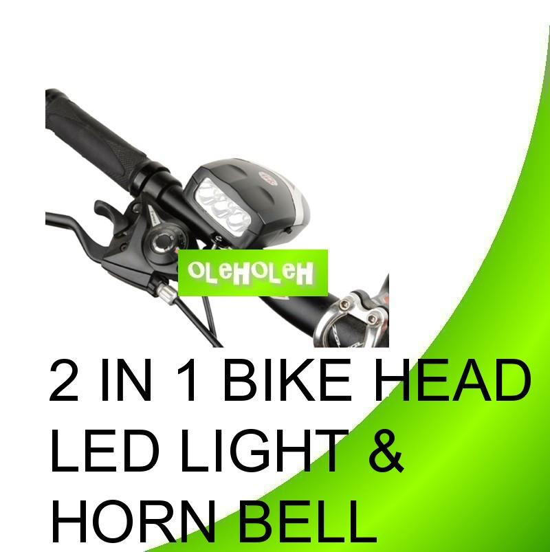 2 In 1 Bicycle Bike Head LED Light & Electronic Power Horn Bell